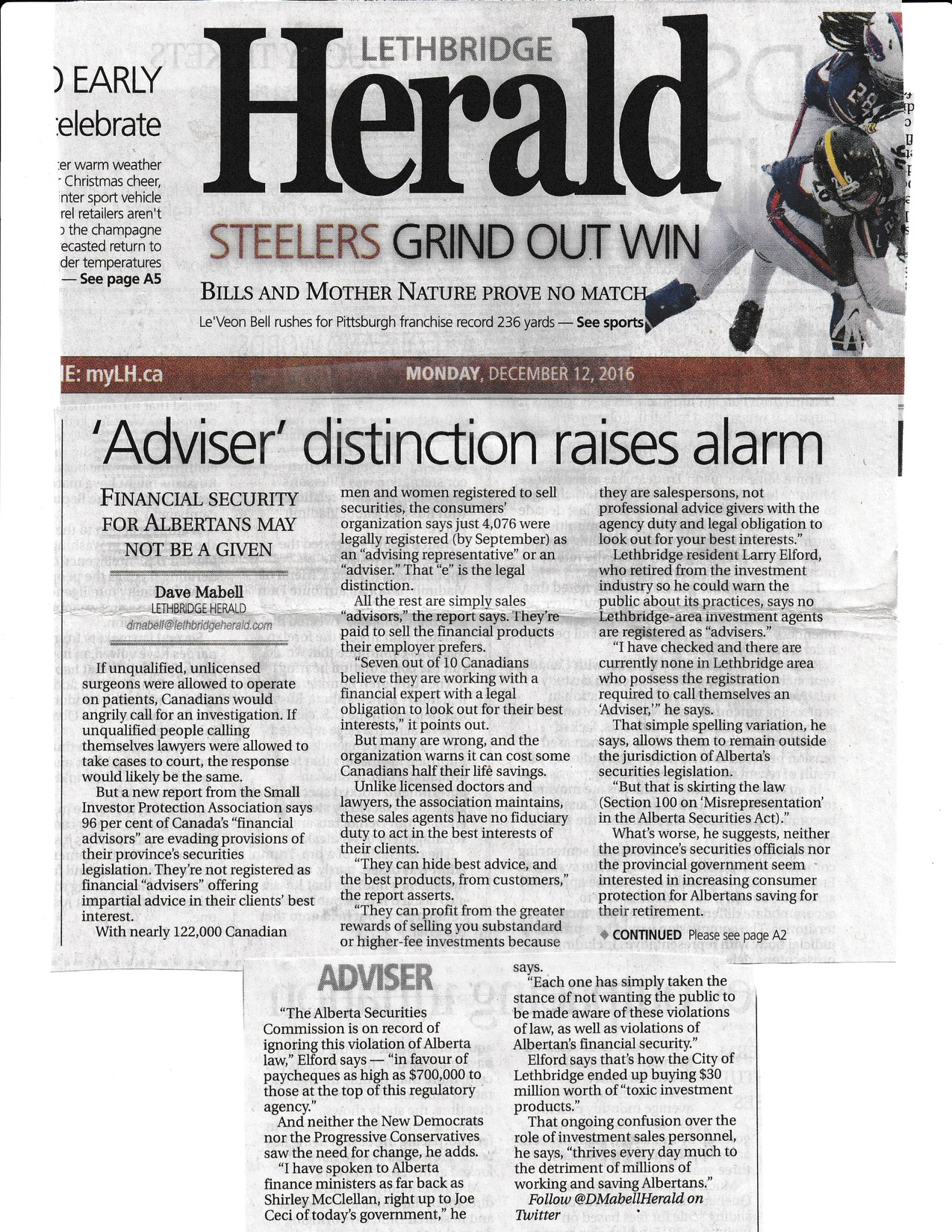 jpg Lethbridge Herald ADVISOR DISTINCTION Dec 12 2016.jpg